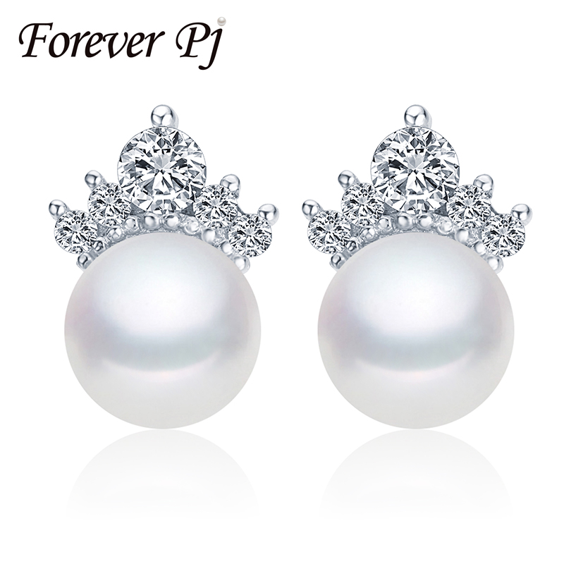 2016 Hot Selling 8.5-9mm Cultured Freshwater Pearl Earrings, Fashion Forever Stud Earrings, 925 Silver Jewelry Earrings For Mom(China (Mainland))