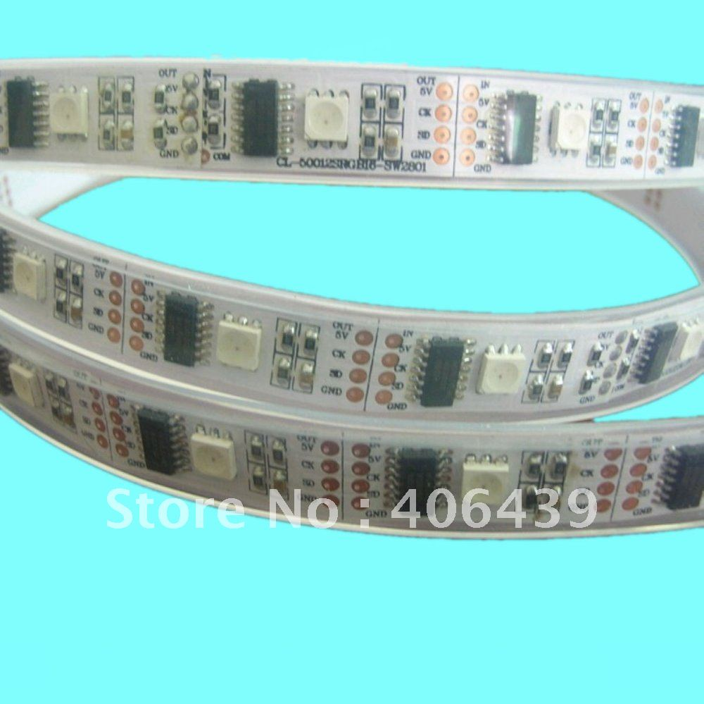 5m/roll led digital flexible strip.WS2801 IC(256 scale,8 bit),35050 RGB leds/m;ip67 silicon tubing,DC5V input,white PCB - SCOTT LED Store store