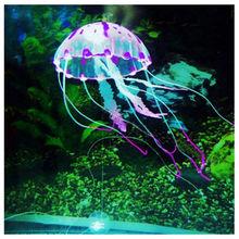 "5.5"" Glowing Effect Artificial Jellyfish Fish Tank Aquarium Decoration Ornament free shipping(China (Mainland))"