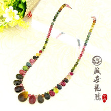 Tourmaline necklace Women natural drop princess chain red green blue(China (Mainland))