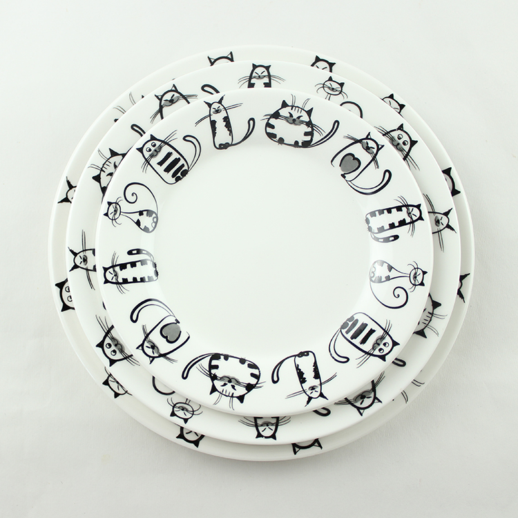 Ceramic plate cat plate breakfast tray western dish flat plate pelvis cartoon plate 8(China (Mainland))