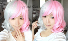 Wholesale& heat resistant LY free shipping>>>Dangan-Ronpa Danganronpa Super Dangan Ronpa 2 Pink And White Bear Cosplay Wig
