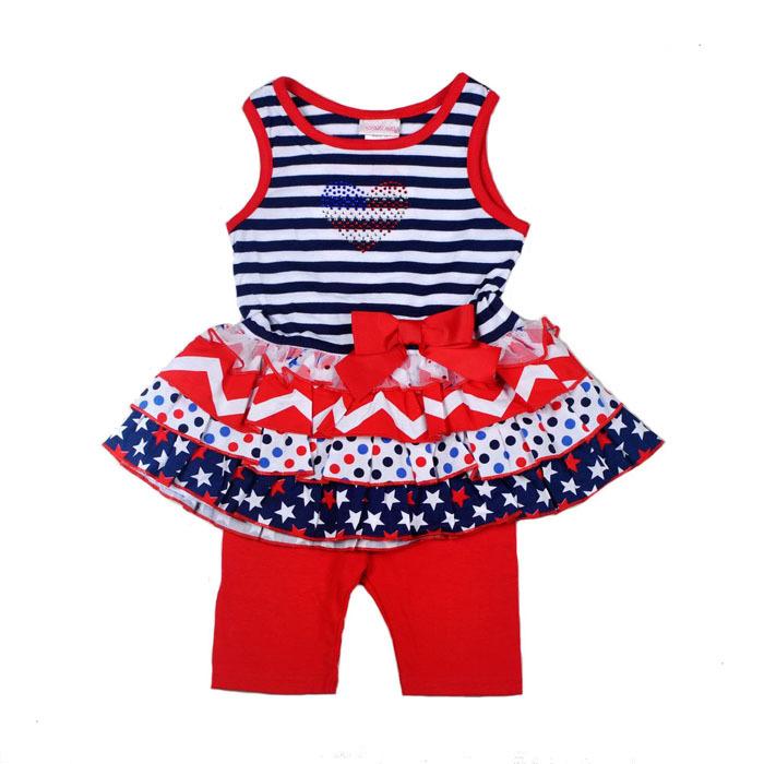 Здесь можно купить  2015 New YoungHearts Kids Suit, Baby girl 2pcs set Striped Vest Dress and Red shorts, Children clothes suit, 7sets/lot-15-11  Детские товары
