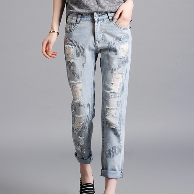 Women 39 S Jeans Plus Size Fashion Style Automn Full Ripped Jeans Loose Hole Denim Woman Jeans