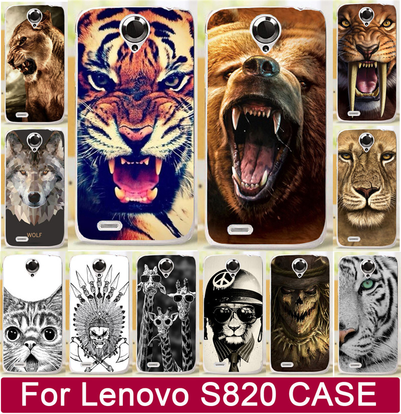 Classic Bear Tiger Lion Wolf Rhinoceros Cat Animal AX Skull PC Hard Cases For Lenovo S820 820 Mobile Phone Case Cover Shell Capa(China (Mainland))