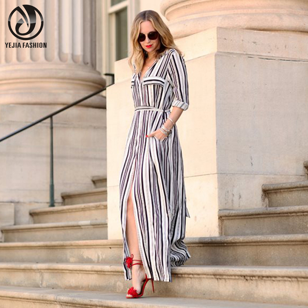 Shirt design ladies - Yejia Fashion Women Black White Long Maxi Striped Shirt Dress Ladies Sexy Elegant Design Long Sleeve
