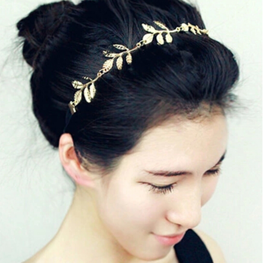 Fashion Hot Sale Tiara Noiva Metal Gold Chain Flower Leaf Hairband For Wedding Bridal Hair Accessory Women Forehead Jewelry(China (Mainland))