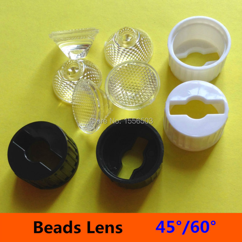 50 sets/lot 20mm 45 60 Degree Set With Holder Bracket Angle LED Lens 1W 3W Flat Bead Surface PMMA Lenses for LED bulb spot Lamp<br><br>Aliexpress