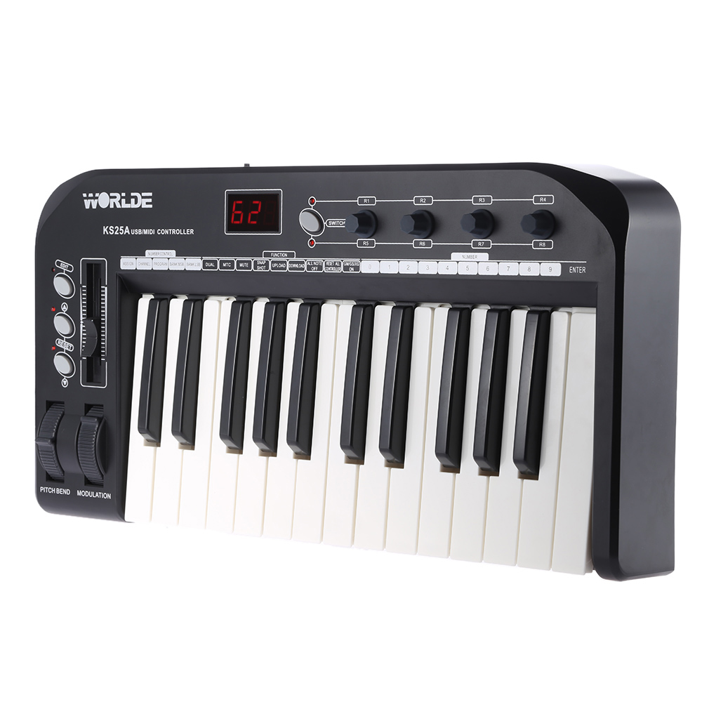 High Quality KS25A Portable 25-key USB MIDI Keyboard Controller with USB Cable(China (Mainland))