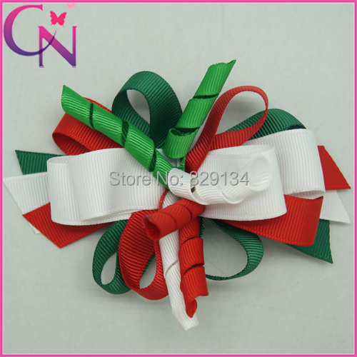 Boutique korker ribbon hair bow Christmas Hair Bows Ribbon Bow With Clips For Girls Hair Accessories 6 pieces/lot CNHBW-14081815()