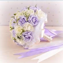 2015 Hermosa Púrpura de La Boda Ramos de Novia Flores de La Boda Ramo Todos Hechos A Mano Perlas Artificiales Flor de Rose Bouquet(China (Mainland))