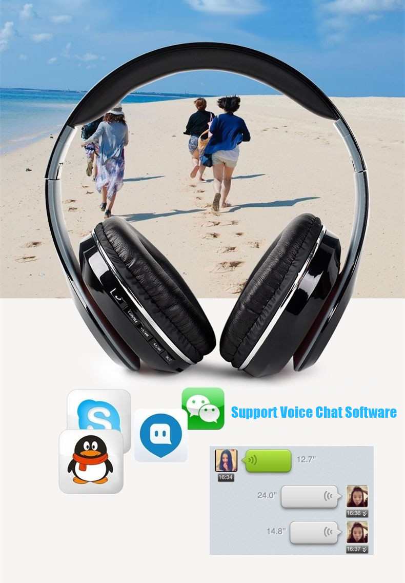 STN-13 Bluetooth Wireless Headphone Casque Audio Portable Headset Stereo Built-in Mic Support TF Card FM Radio