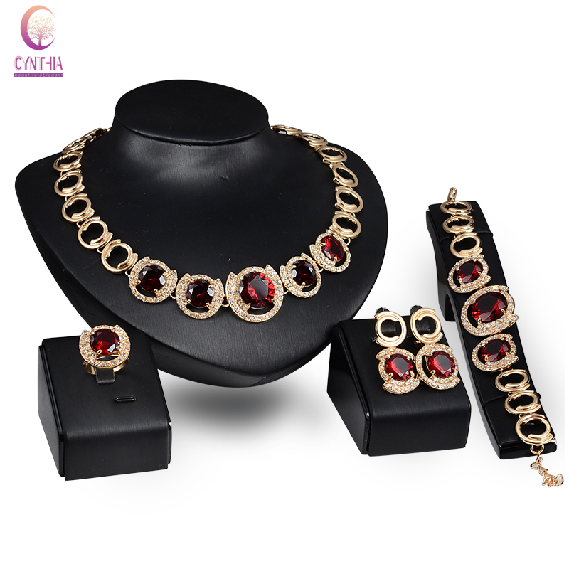 Fine Jewelry Sets 18K Gold Plated Ruby Sapphire Pendant Fashion Austrian Crystal Necklace Bracelet Ring Earrings Wedding Sets