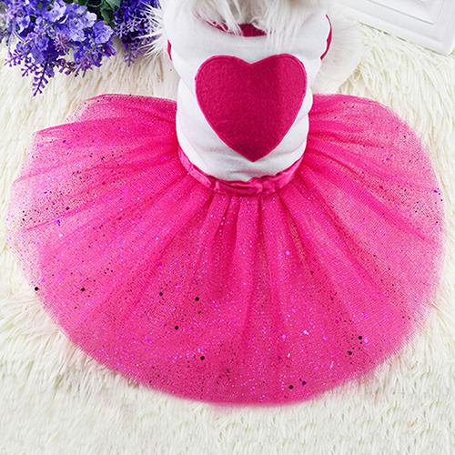 Pet Dog Love Heart Sequins Gauze Tutu Dress Skirt Puppy Cat Rose Red Clothes(China (Mainland))