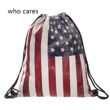 Who Cares 3D Printing USA Flag Mochila Feminina Gym Backpak Women Outdoor Fashion daily Shopping Casual Sport Drawstring Bag