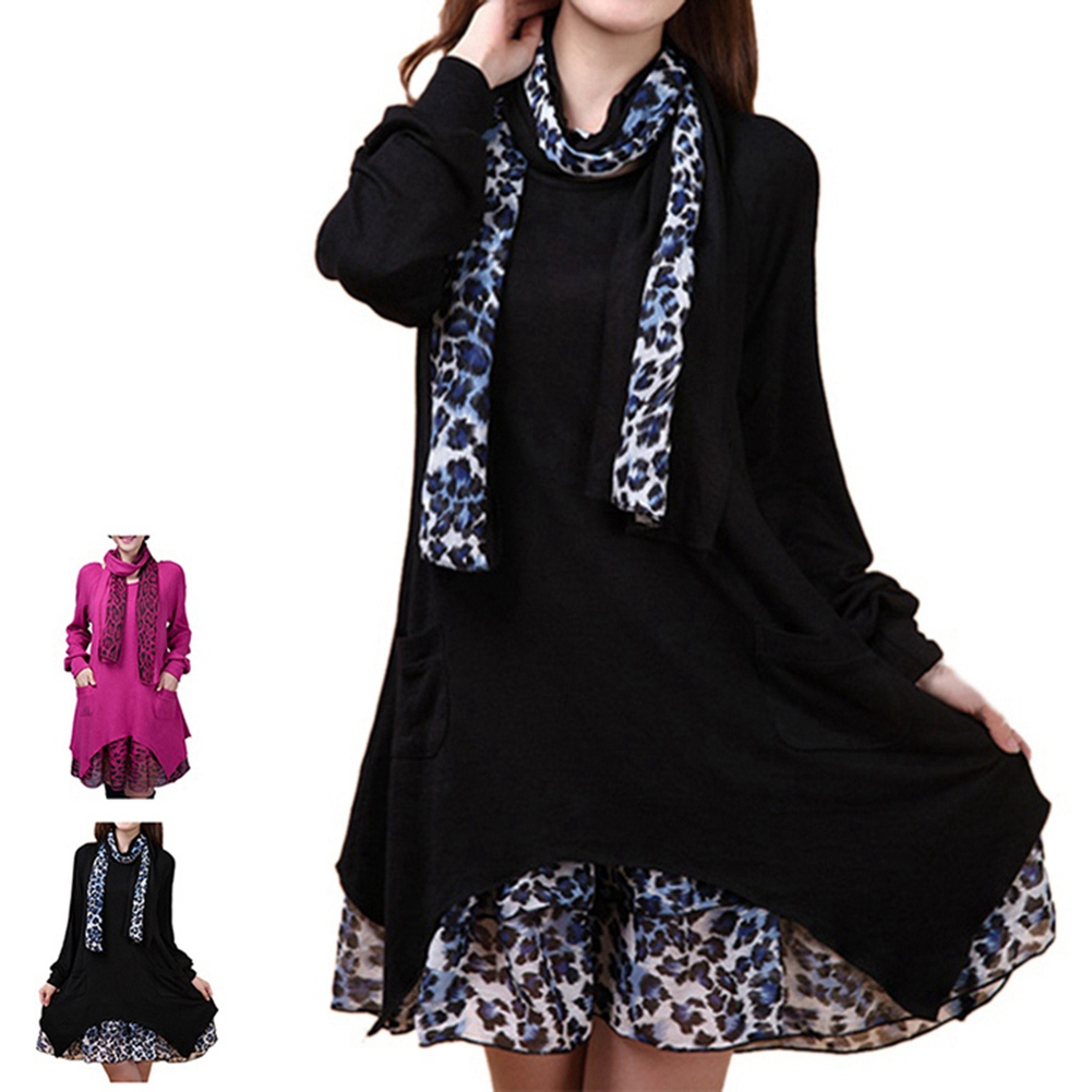High Quality Spring font b Maternity b font Dresses Pregnancy Clothing Plus Size Loose Knitted Leopard
