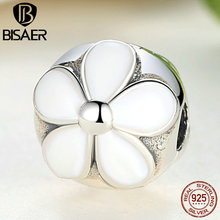 2015 New Collection 925 Sterling Silver White Enamel Darling Daisy Clip Charm Fit Pandora Original Bracelet DIY Jewelry AS090(China (Mainland))