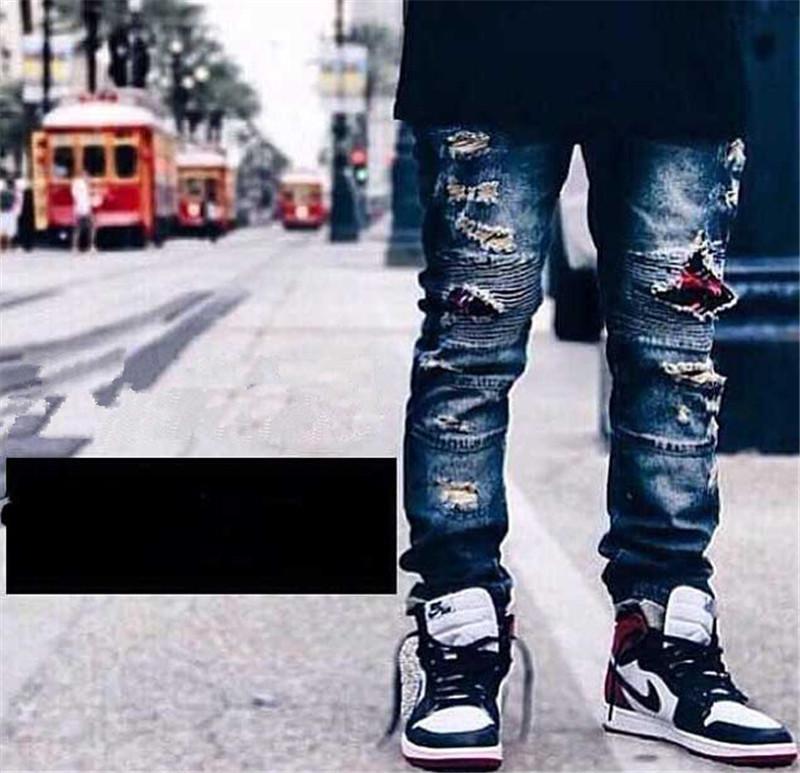 Cool Hi-Street Distressed Men Biker Denim Jeans Pleated Swag Ripped Jeans For Men Brand Designer Motorcycle Jeans Men MB218Одежда и ак�е��уары<br><br><br>Aliexpress