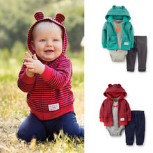 2015 fashion spring brand carters baby boy girls hoodies coat bodysuit pants 3pcs clothing sets sport