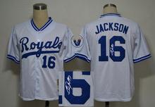 Cheap Signature Edition Kansas City Royals #16 Bo Jackson White Baseball Jersey ,Embroidery Logos,Can Mix Order(China (Mainland))