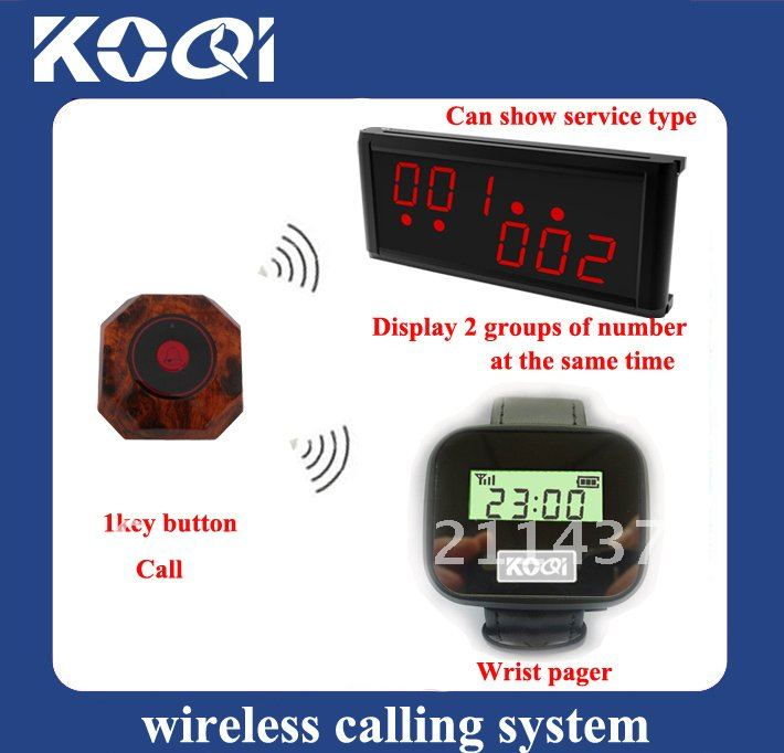 DHL freehipping Wireless transmission system ;1 set of 1pcs LCD Display+1pcs Watch receiver+10pcs table calling buttons(China (Mainland))