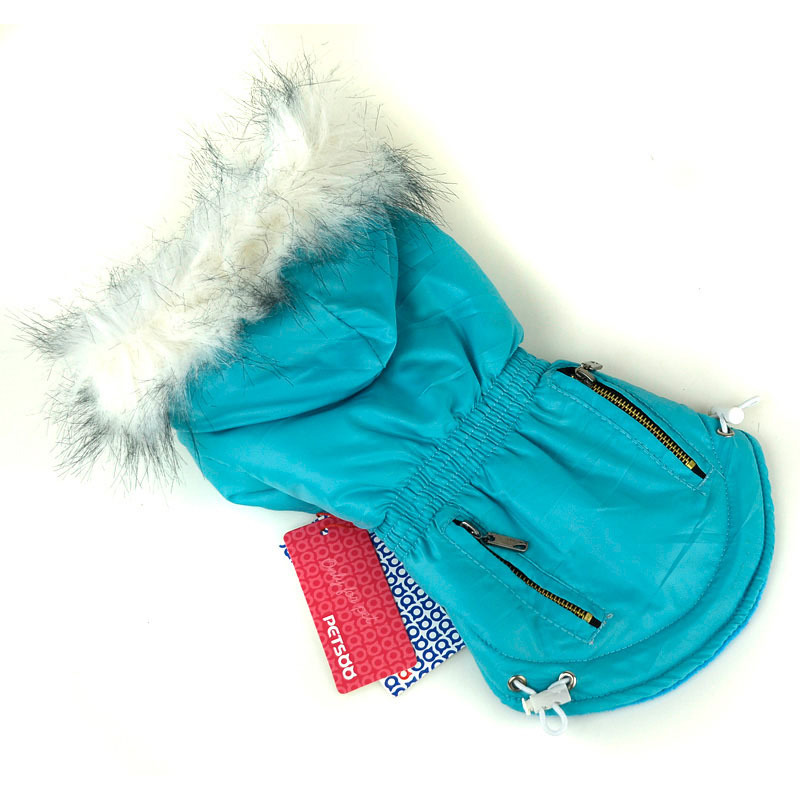 Fur Trimmed Dog Hoodie Candy Color Puppy Cat Warm Coat Waterproof Pet Costume(China (Mainland))