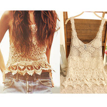 2016 Sexy T-shirts Womens Lace Vests Blusas Crop Top Hollow-out Lace Crochet Vest Camisole Lace Cami Vest Floral Shirt Tank Tees(China (Mainland))