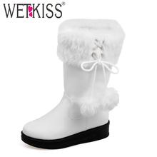 WETKISS Tamaño Grande 32-50 Añadir Botas Precioso bolso de la Piel de Piel de Otoño Invierno de Las Mujeres encanto Plana Con Botas de Nieve Resbalón En Zapatos de Mujer Del Dedo Del Pie Redondo Caliente(China (Mainland))