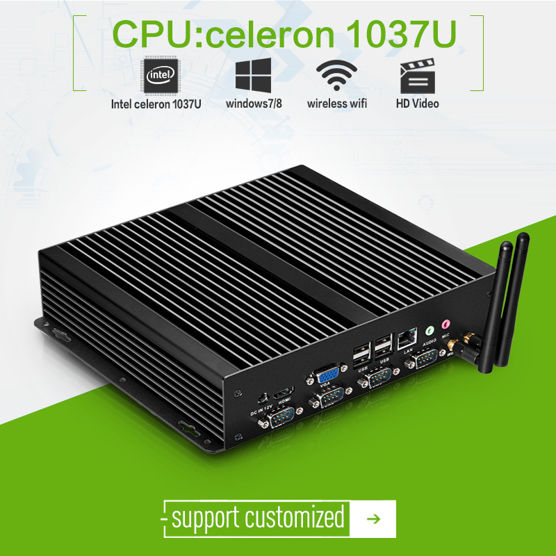 High promotion! mini pc of C1037U 8*USB port X26-1037G thin client with hdmi 2G RAM 320G HDD aluminum alloy fanless factory pc(China (Mainland))