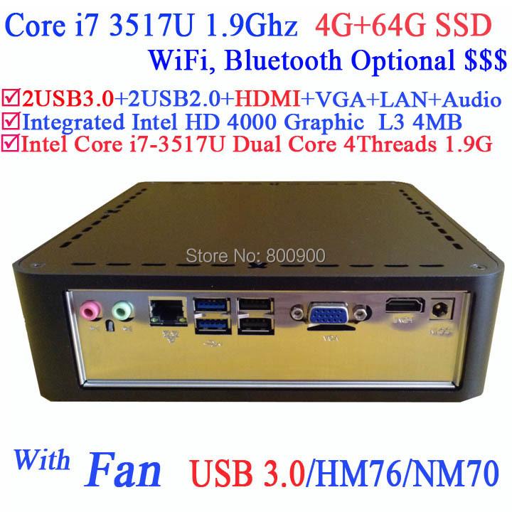 mini desktop computer pc workstation with Intel Core i7-3517U 1.9GHz 3D API DirectX 11 Intel HD 4000 graphic 4G RAM 64G SSD<br><br>Aliexpress