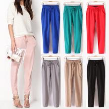 Trasporto libero 2014 di estate nuove donne pantaloni casual/moda sexy chiffon elastico in vita arcobaleno pantaloni/pantaloni ab17  (China (Mainland))