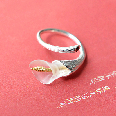 Unique original handmade Women lily flower Ring / 925 stearing silver and white crystal / high quality(China (Mainland))
