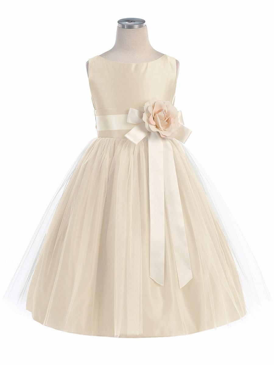 Little queen champagne vintage satin tulle flower girl for Flowers for champagne wedding dress