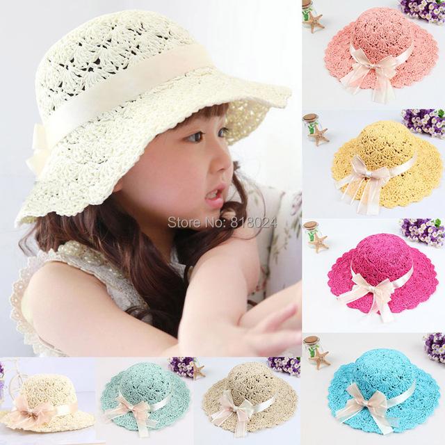 ( 7 цветов для выбирают ) лето шелк лента девочки-младенцы солома солнцезащитные головные уборы дети флоппи-бей пляж шляпа дети складной ультрафиолетовый козырек шапки