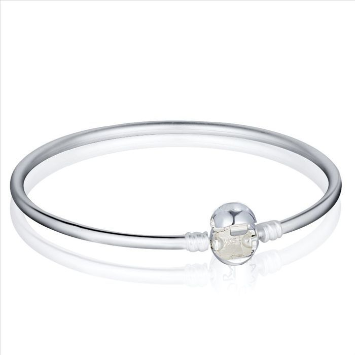 Hot Fashion Bangles 925 Sterling Silver Clasp Charm Bracelets Bangles Fit For European Charms Silver Beads 18-21cm(China (Mainland))