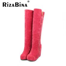 Mujeres plataforma sobre la rodilla botas martin cargador de la nieve caliente botas de invierno masculina de algodón calzado moda zapatos de tacón alto P19640 tamaño 32-43(China (Mainland))
