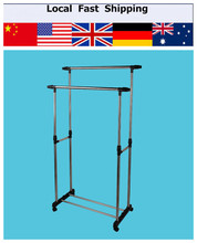 Double Furniture Folding Clothes Rail Hanging Garment Dress On Wheels Mesh Shoe Rack(Hong Kong)