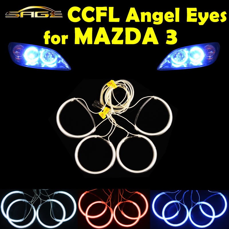 4 PCS/SET CCFL Angel Eyes for 2004-2008 MAZDA 3 Headlight HALO Rings Kit Head Lamp Decoration Color White Red Blue(China (Mainland))