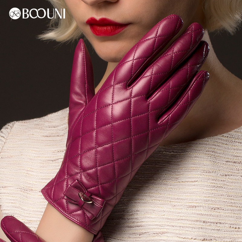 ! New fashion women's sheepskin genuine leather gloves female purple red plaid velvet short design - lumali men's clothing store