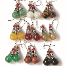 Natural gem earrings vintage tibetan silver earrings for women red agate jade ethnic fine jewelry bijoux women brincos gift 0415(China (Mainland))