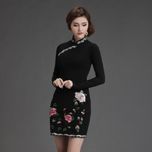 long sleeve dress autumn 2014 Hitz national wind collar plate buttons embroidered dress skirt package hip bottoming dress