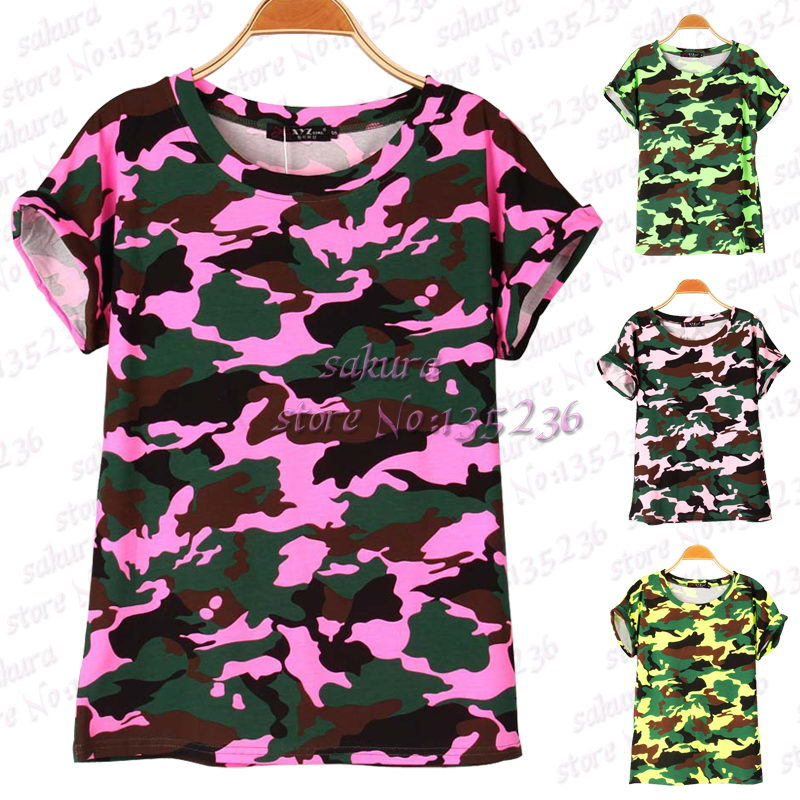 4 colors Women Camouflage T-shirts Bat sleeve t shirts Stretch Cotton tees Modal tops Personalized jersey Plus size S/M(China (Mainland))