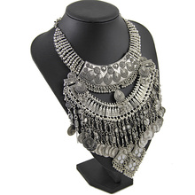 New fashion ancient silver coin women exaggerated metal stout maxi statement Necklaces Pendants wholesale jewelry NK980