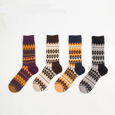 FreeShipping 2014 New Designer Vintage Style Cotton Socks Men Fashion Cotton Socks Man's Socks Diamond Socks Free Size(China (Mainland))