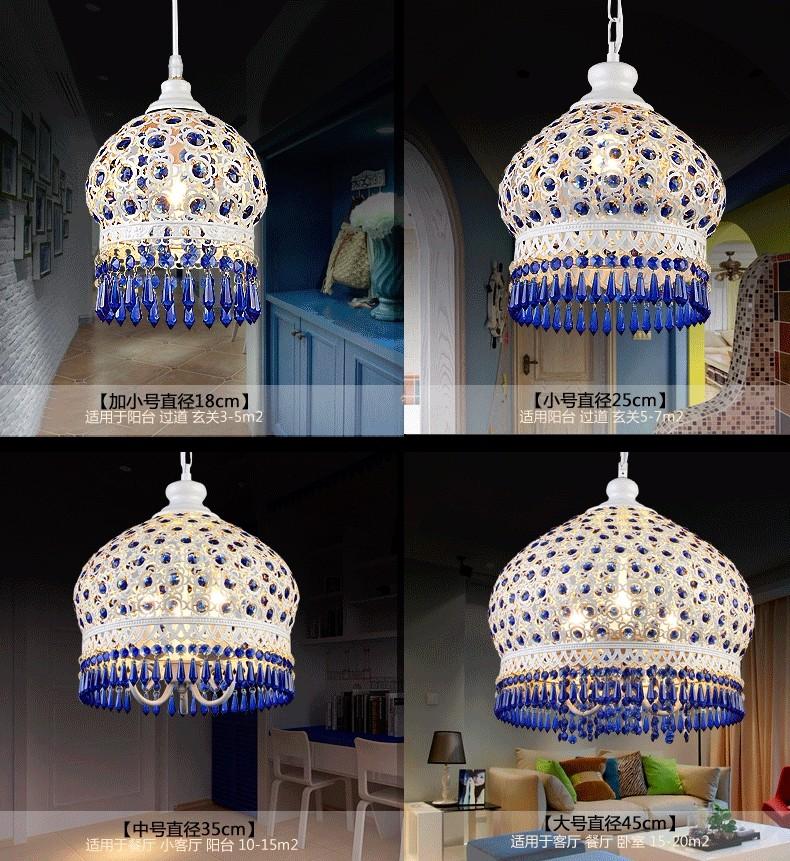 Bohemian Mediterranean Blue Crystal Ceiling Drop Light Pendant Lamp Lampshade Lighting Fixture for Room Restaurant Cafe Decor (10)