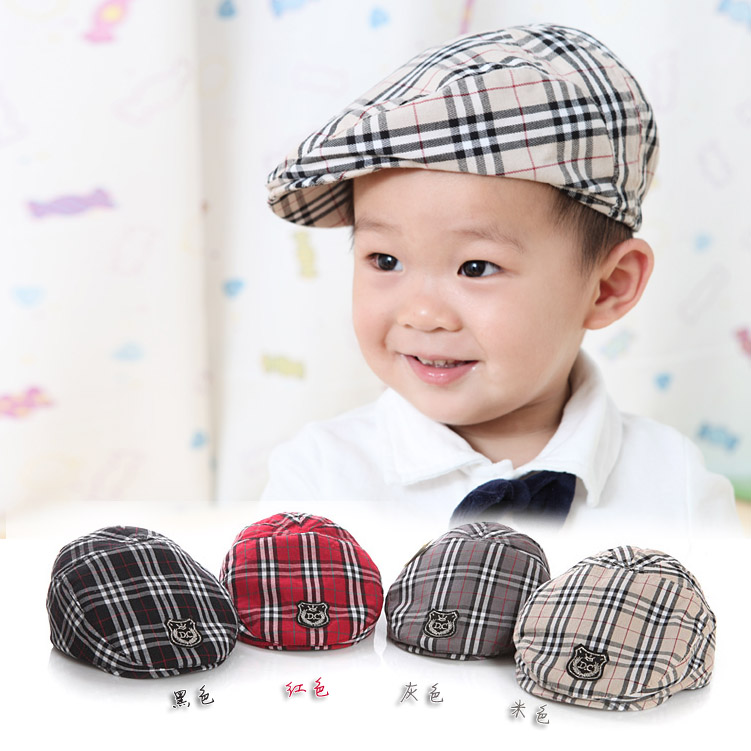 Spring Autumn Cute Plaid Kid Toddler Infant Boy's Baby Girls Hat Casquette Peaked Baseball Beret Cap for 3-36M(China (Mainland))