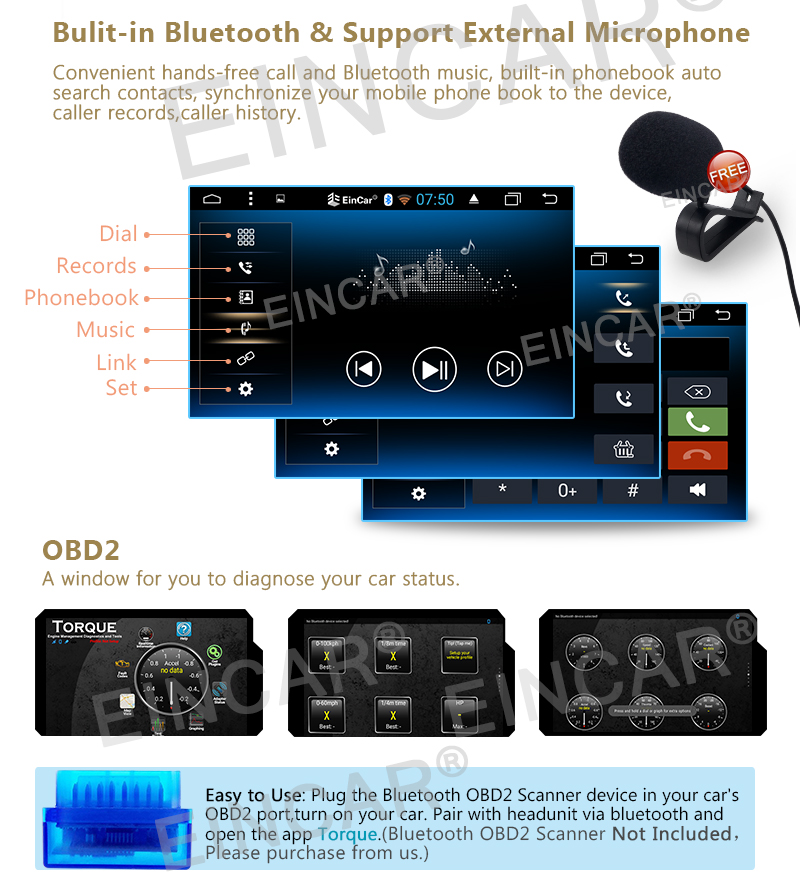 car nO-DVD GPS Navigation player Car Stereo Android 6.0 2 Din Capacitive Screen In console Vehicle Radio WiFi 1080P Video OBD2
