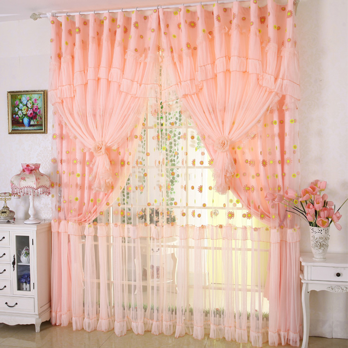 Sunflower Lace Ruffled Window Valance Embroidered Flowers Shade Cloth Tulle C