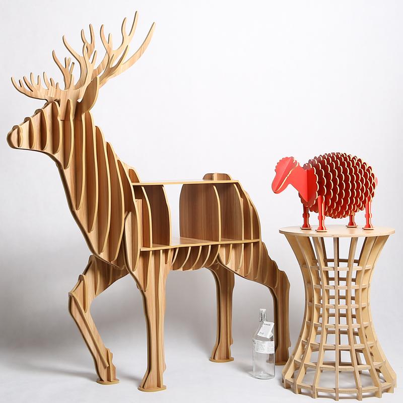 Elk animal furniture DIY creative wood crafts table animal bookshelf for household, clubs, theme restaurants,shops(China (Mainland))