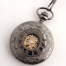 Free Shipping Double-Skeleton Black Gray Mechanical Pocket Watch for Men Half Hunter Cover Wholesale 627N